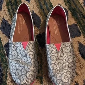 TOMS Silver with pink sole!